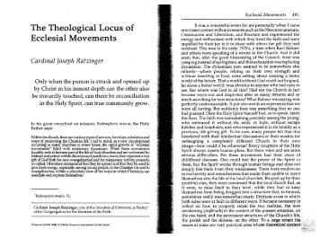 The Theological Locus of Ecclesial Movements - Communio
