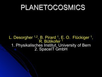 PLANETOCOSMICS - X-ray Astronomy Group at ISAS