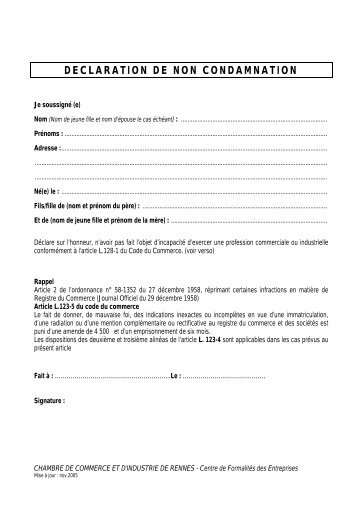 Declaration De Non Condamnation Cci Rennes