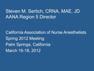 Steven M. Sertich, CRNA, MAE, JD AANA Region 5 Director