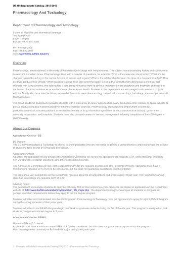 Pharmacology And Toxicology - Undergraduate Catalog - University ...