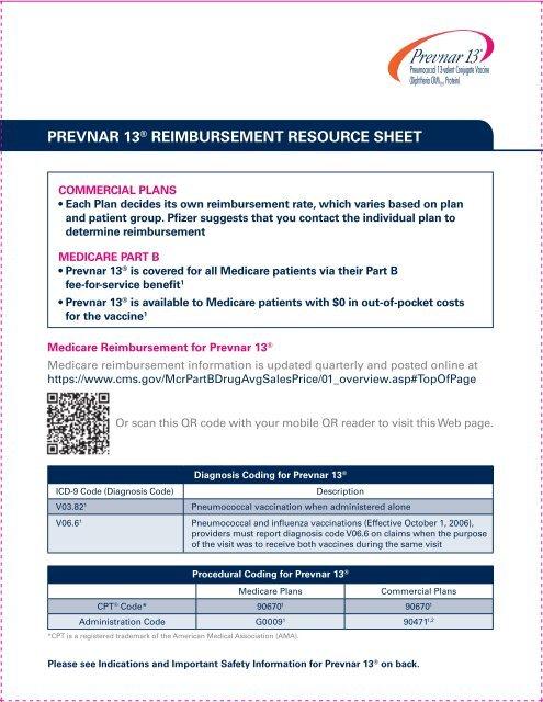 PREVNAR 13® REIMBURSEMENT RESOURCE SHEET - PfizerPro