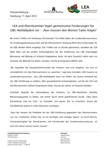 Brief Riedel Elternkammer Elternkammer Hamburg