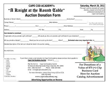 Donation Form 2011 - Cape Cod Academy