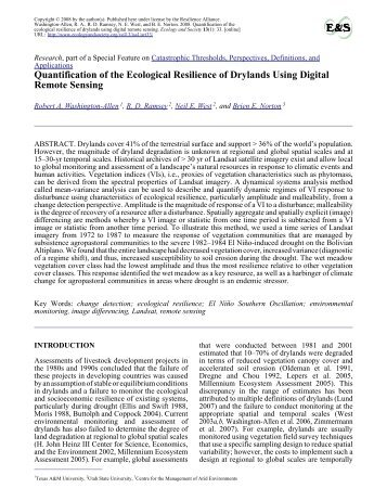 Quantification of the Ecological Resilience of Drylands Using Digital ...