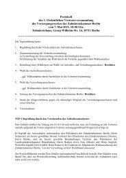 1. Ordentliche Vertreterversammlung vom 7. Mai 2011