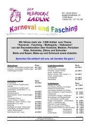 """Wir führen mehr als 3.000 Artikel zum Thema """"Karneval – Fasching ..."""