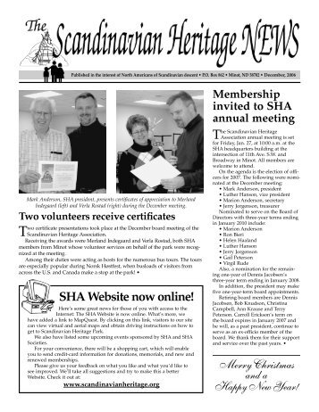 SHA Newsletter DEC. 06 - Scandinavian Heritage Association