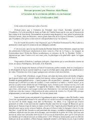 Discours prononcé par Monsieur Alain Plantey à l'occasion de la ...