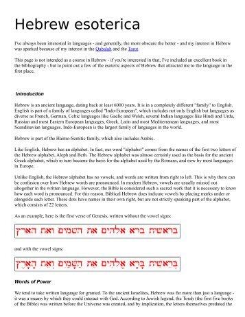 Hebrew esoterica