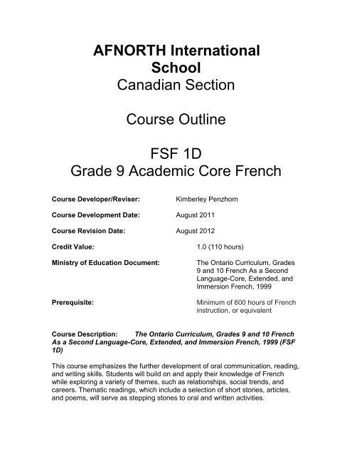 French Second Language - AFNORTH International School