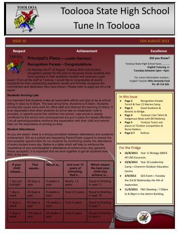 Newsletter 10 - 15th August 2013 - Toolooa State High School