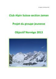 Club Alpin Suisse section Jaman Projet du groupe jeunesse Objectif ...