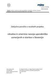 Analiza in smernice razvoja uporabniško usmerjenih e-storitev v ...