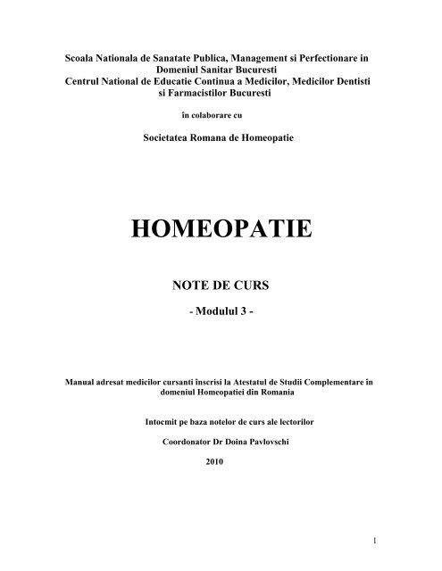 homeopatie note de curs - Societatea Română de Homeopatie