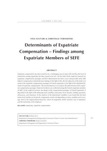 Determinants of Expatriate Compensation - Liiketaloudellinen ...