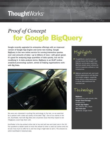 for Google BigQuery - ThoughtWorks