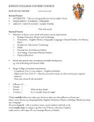 Course Choice Worksheet - King's College