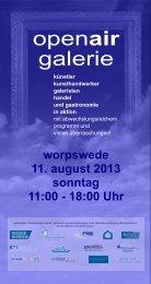 worpswede 11. august 2013 sonntag 11:00 - 18:00 Uhr