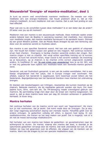 Nieuwsbrief 'Energie- of mantra-meditaties', deel 1