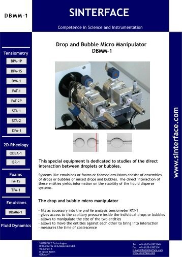 Information DBMM 1 (*.pdf) 337 kB - SINTERFACE