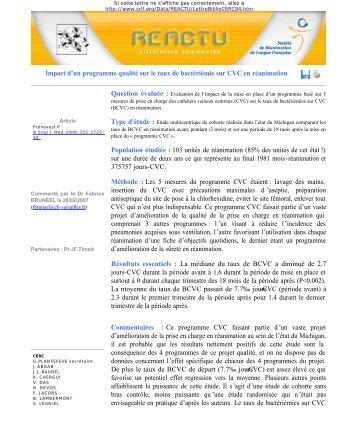 Impact d'un programme qualité sur le taux de bactériémie ... - SRLF