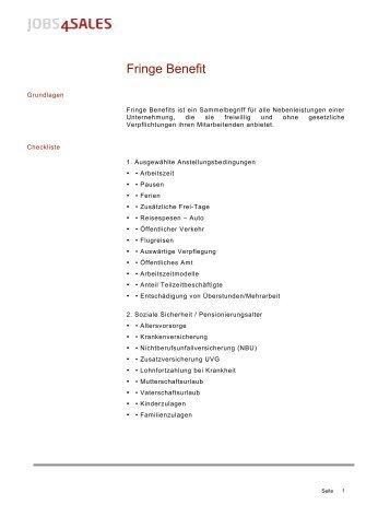 checkliste fringe benefits attraktivit t und kosten. Black Bedroom Furniture Sets. Home Design Ideas