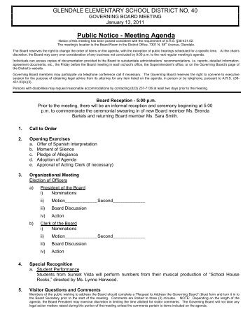 1.13.2011 Regular Meeting Agenda - Glendale Elementary School ...