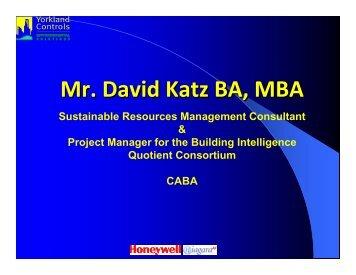 CABA and Integration – David Katz - Yorkland Controls