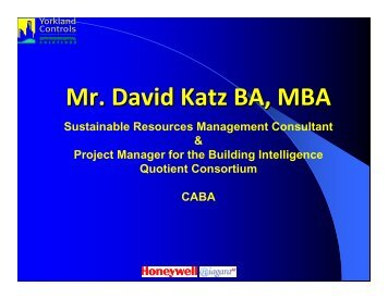 CABA and Integration – David Katz - Yorkland Controls