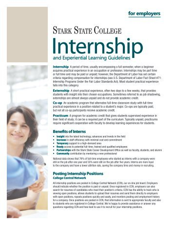 Internship and Experiential Learning Guidelines for Employers