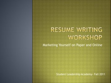 Resume Workshop Presentation - Stark State College