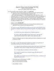Alignment of Science Teacher Workshops With TEKS Albert E ...