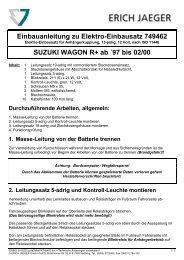 Einbauanleitung zu Elektro-Einbausatz 749462 SUZUKI WAGON ...