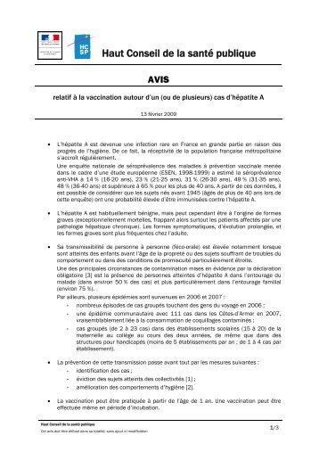 avis du 13 février 2009 - Haut Conseil de la santé publique