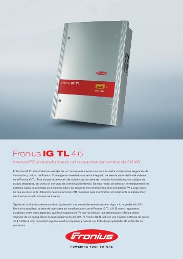 Fronius IG TL 4.6 - JHRoerden