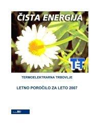 LETNO POROČILO ZA LETO 2007 - Termoelektrarna Trbovlje