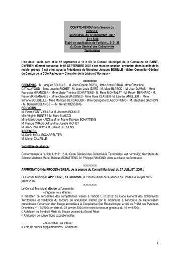 COMPTE-RENDU de la Sance du - Ville de Saint Cyprien