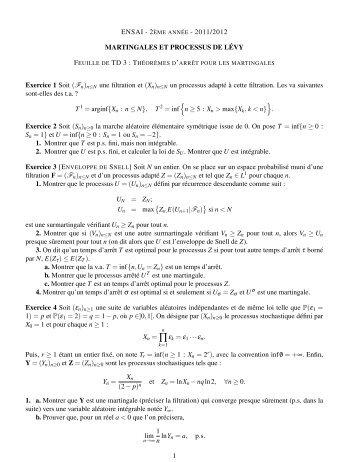 (¿ n)n≤N une filtration et - ENS de Cachan - Antenne de Bretagne