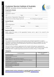 Awards Application Template - Customer Service Institute of Australia
