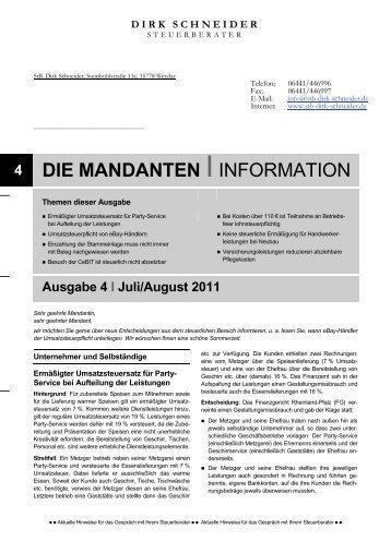 4 DIE MANDANTEN IINFORMATION - Steuerberater Dirk Schneider