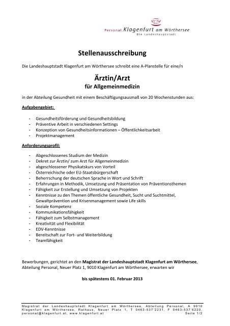 Stellenausschreibung Ärztin/Arzt - Klagenfurt