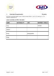 Beispieltest Englisch, Level 1 - Bfi