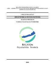 idegenforgalmi fejlesztések 2005. - Balaton Fejlesztési Tanács