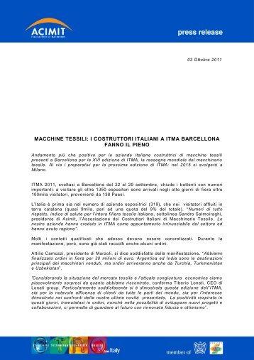 macchine tessili: i costruttori italiani a itma barcellona fanno ... - Acimit