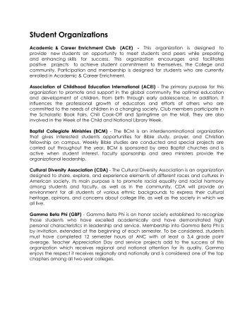 Student Organizations - Arkansas Northeastern College