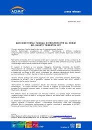 segnali di recupero per gli ordini nel quarto trimestre 2011 - Acimit