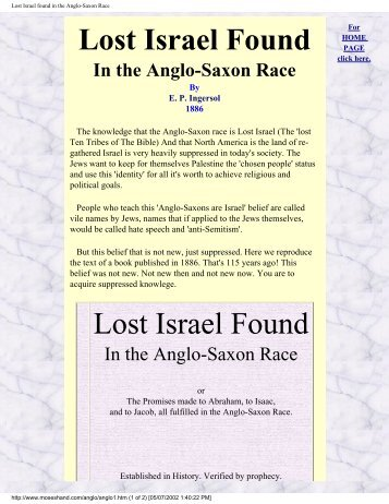 Lost Israel found in the Anglo-Saxon Race - Origin of Nations