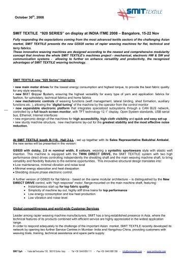 "SMIT TEXTILE ""920 SERIES"" on display at INDIA ITME 2008 ... - Acimit"