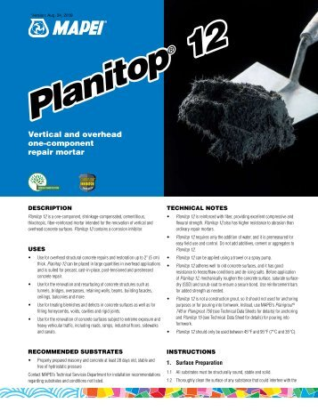Planitop 12 - Specialtyproducts.net